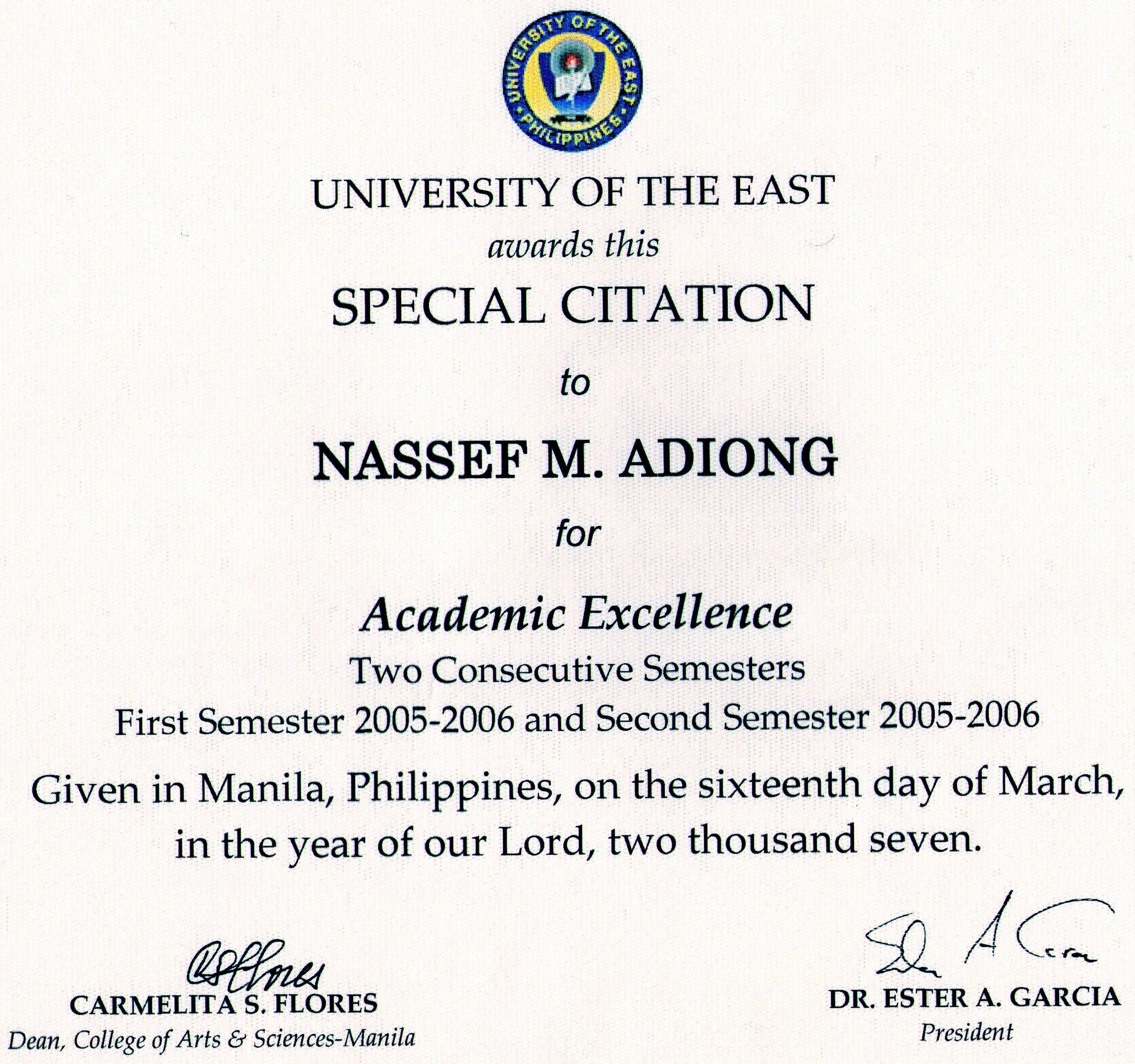 awards and honors nassef manabilang adiong phd