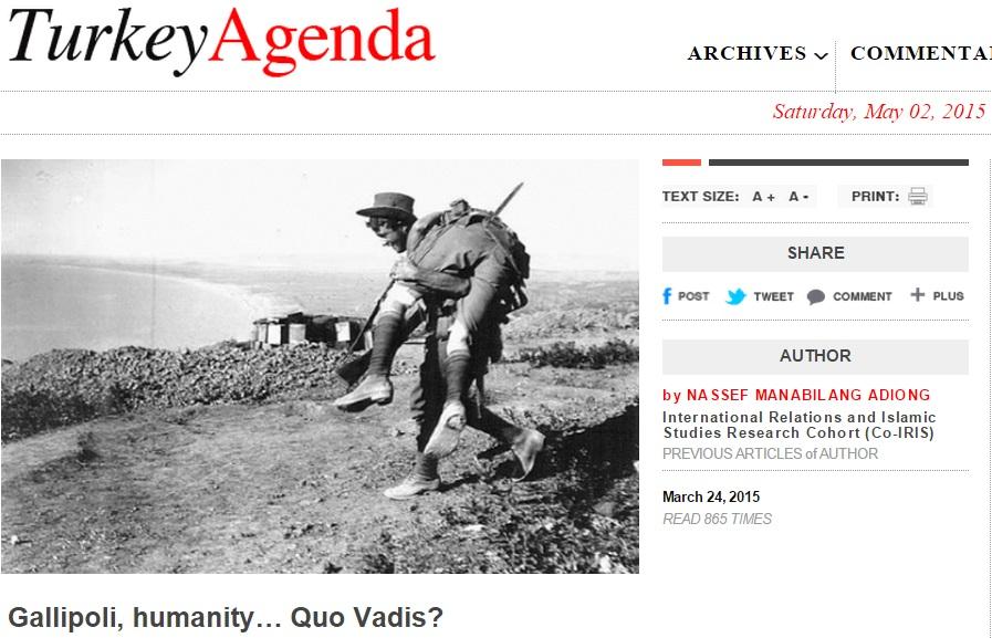 Gallipoli, humanity… Quo Vadis?